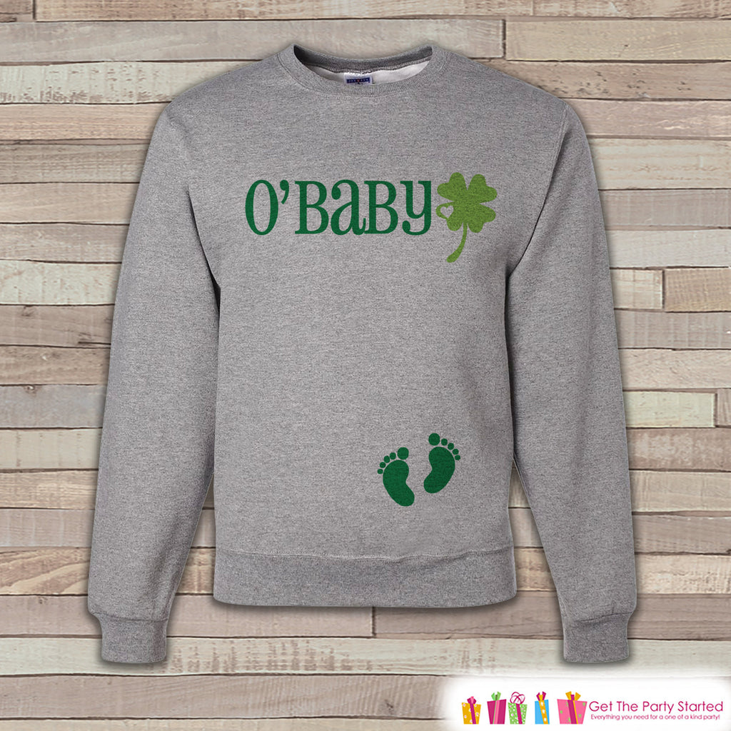 St. Patrick's Pregnancy Reveal - O'Baby Irish Baby - Pregnancy Announcement - St. Patrick's Day Sweatshirt - Womens Pullover - Baby Reveal - 7 ate 9 Apparel