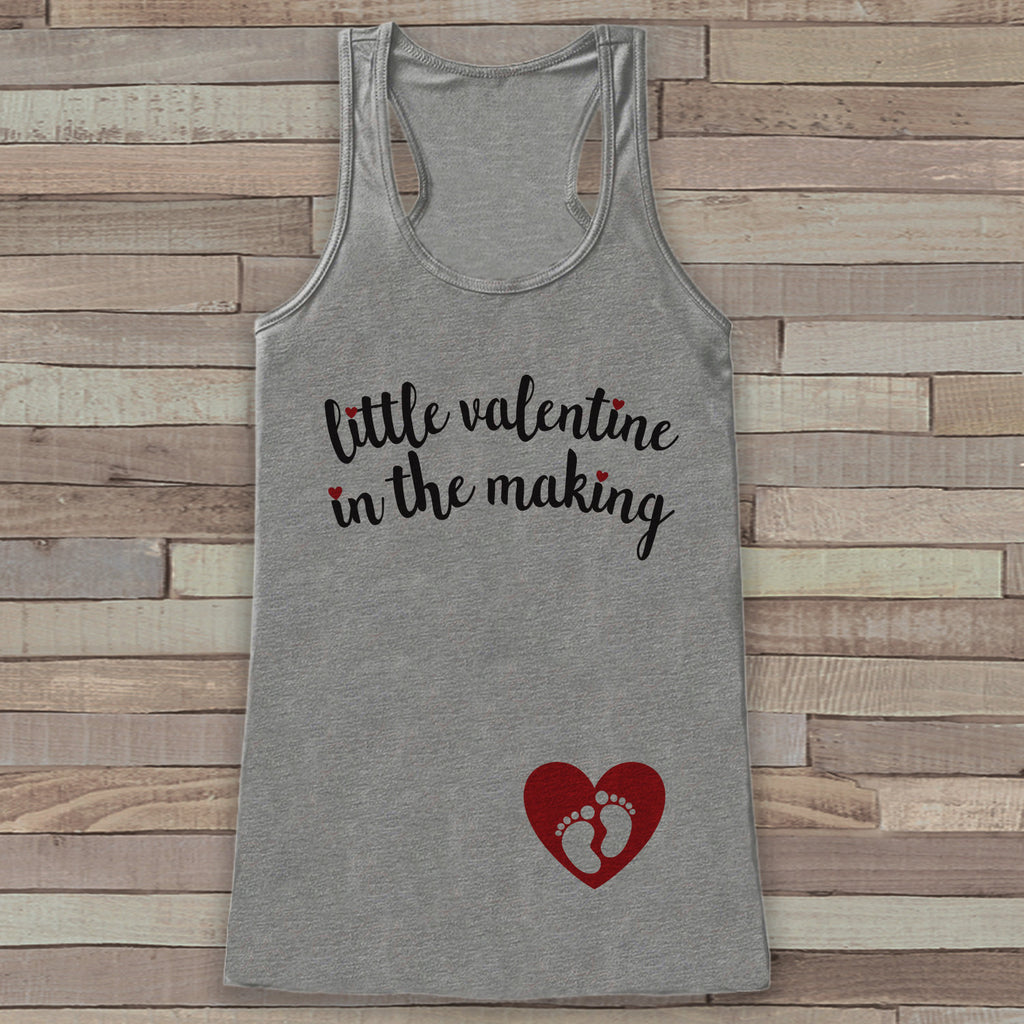 Valentine's Day Pregnancy Reveal Tank Top - Women's Pregnancy Announcement Shirt - Little Valentine In The Making - Reveal Shirt - Grey Tank
