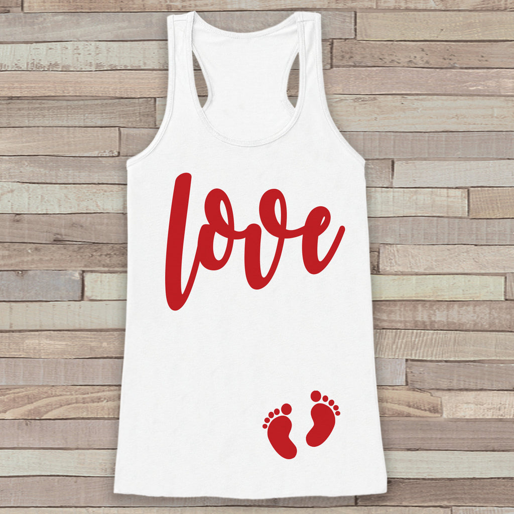Valentine's Day Pregnancy Reveal Tank Top - Women's Pregnancy Announcement Shirt - Red Love Baby Feet Pregnancy Reveal Shirt - White Tank