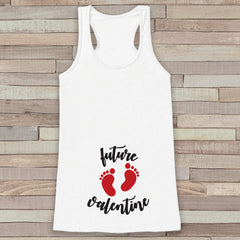 Valentine's Day Pregnancy Reveal Tank Top - Women's Pregnancy Announcement Shirt - Future Valentine Red Baby Feet - White Tank Top - 7 ate 9 Apparel