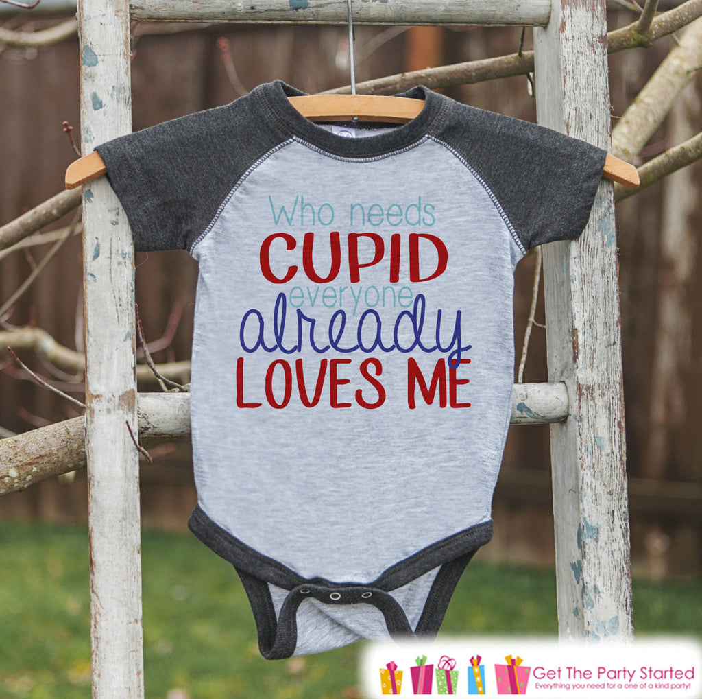 Kids Valentines Shirt - Who Needs Cupid Valentine Shirt or Onepiece - Boys Valentines Day Outfit - Baby, Toddler, Youth Grey Raglan