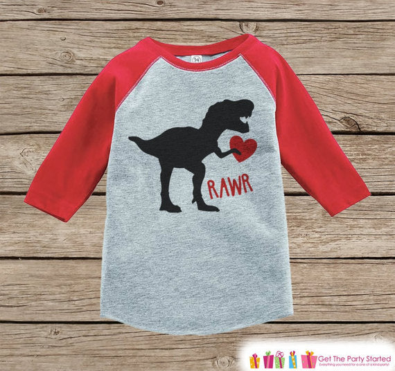 Kids Valentines Outfit - Dinosaur Valentine's Day Shirt or Onepiece - Boys Valentine Shirt - Baby, Toddler, Youth - Dino Valentines Shirt