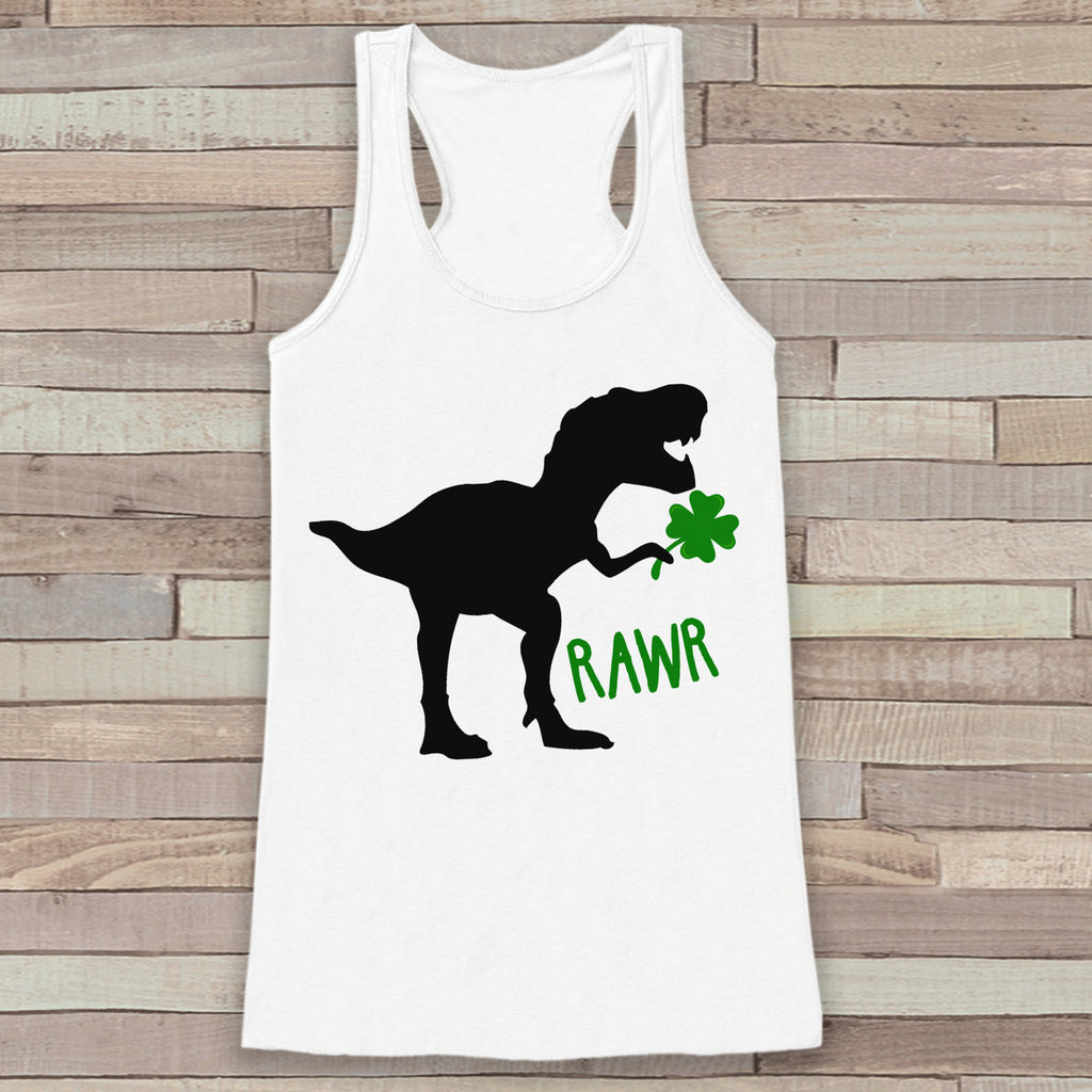 Womens St Patricks Day Shirt - Funny St Paddy's Day Tank Top - Dinosaur Green Clover - Womens Tank - Happy St Patrick's Day - White Tank Top - 7 ate 9 Apparel