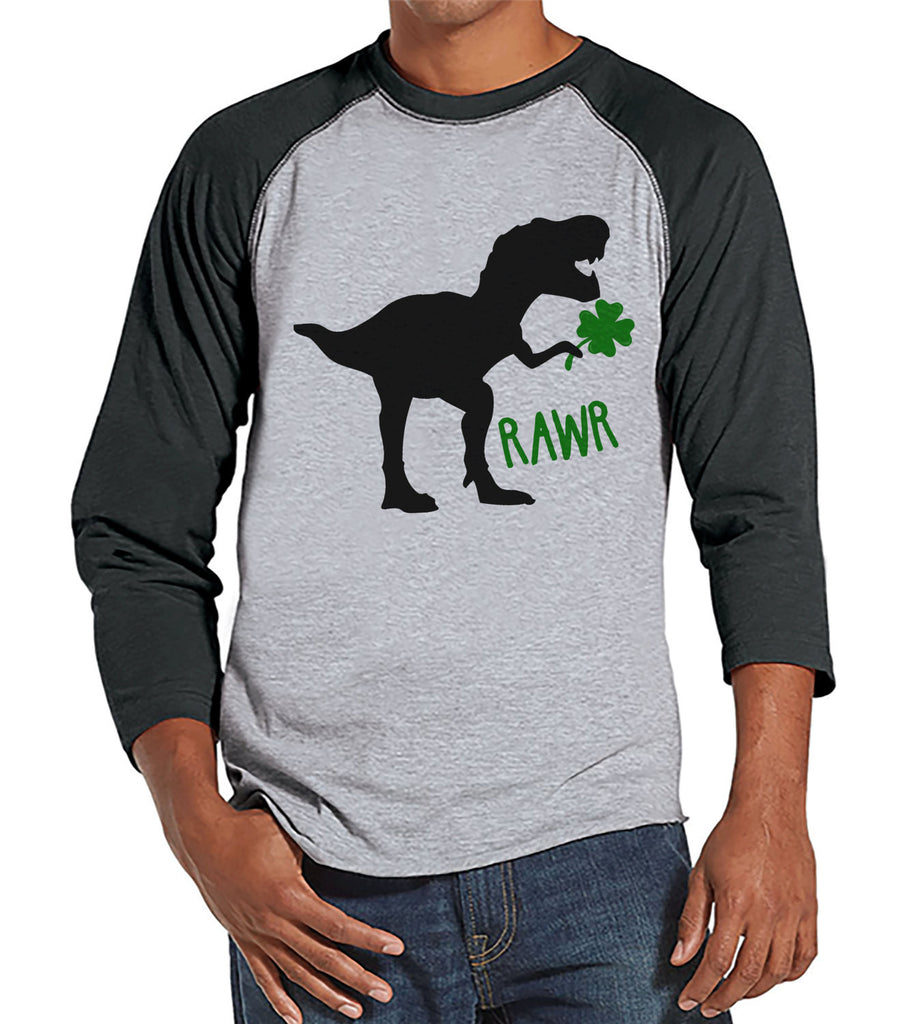 Men's St Patricks Day Shirt - Mens Dinosaur St Paddy's Day Shirt - Dino St Patricks Day Gift for Him - Funny Lucky Dinosaur - Grey Raglan - 7 ate 9 Apparel