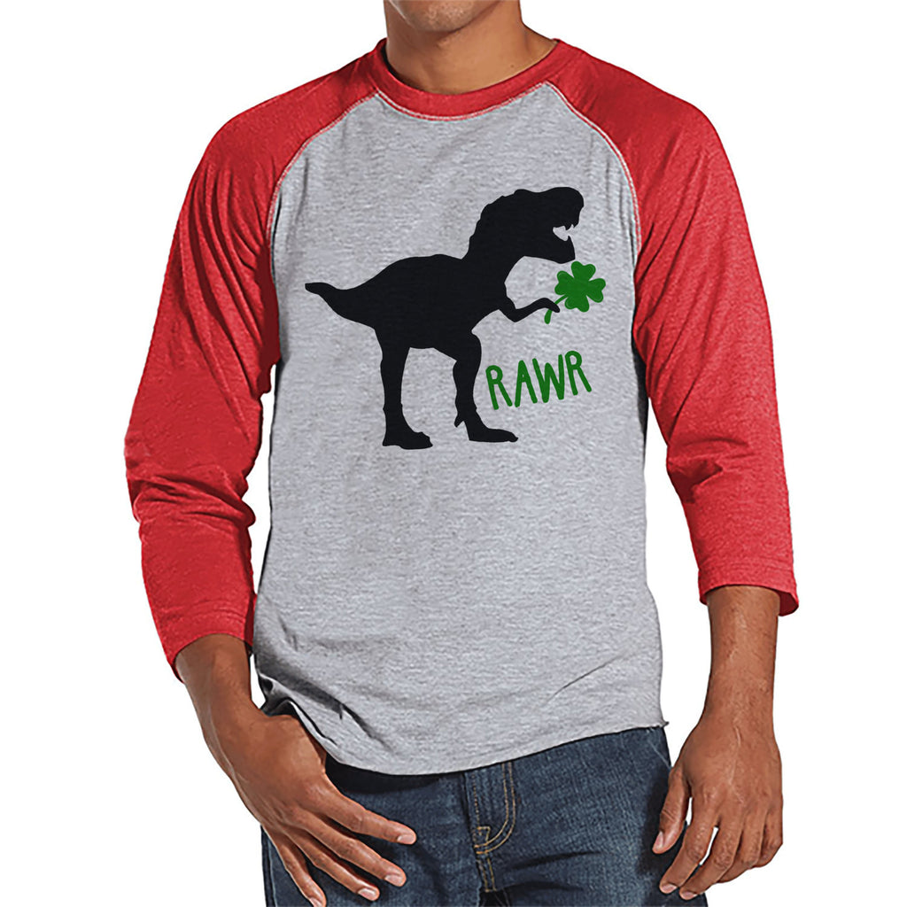 Men's St Patricks Day Shirt - Mens Dinosaur St Paddy's Day Shirt - Dino St Patricks Day Gift for Him - Funny Lucky Dinosaur - Red Raglan - 7 ate 9 Apparel
