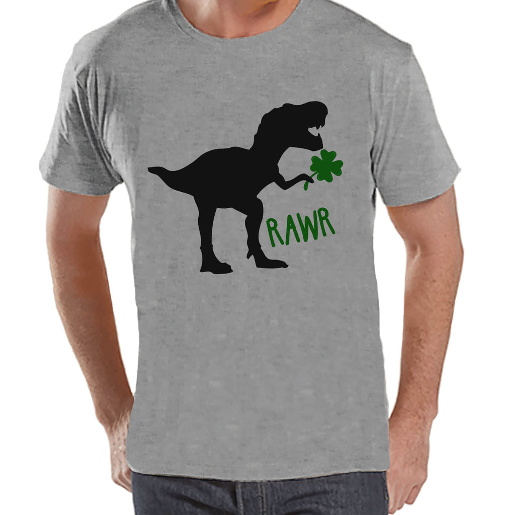 Men's St Patricks Day Shirt - Mens Dinosaur St Paddy's Day Shirt - Dino St Patricks Day Gift for Him - Funny Lucky Dinosaur - Grey T-shirt - 7 ate 9 Apparel