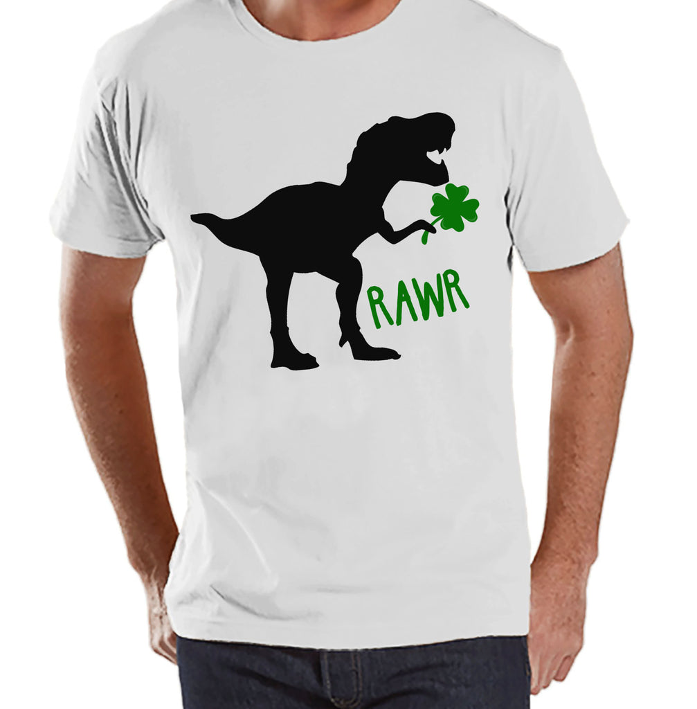 Men's St Patricks Day Shirt - Mens Dinosaur St Paddy's Day Shirt - Dino St Patricks Day Gift for Him - Funny Lucky Dinosaur - White T-shirt - 7 ate 9 Apparel