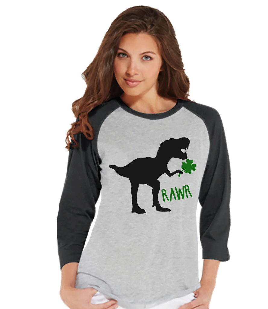 Womens St Patricks Day Shirt - Ladies Dinosaur St Paddy's Day Shirt - Dino St Patricks Day Gift for Her - Funny Lucky Dinosaur - Grey Raglan - 7 ate 9 Apparel