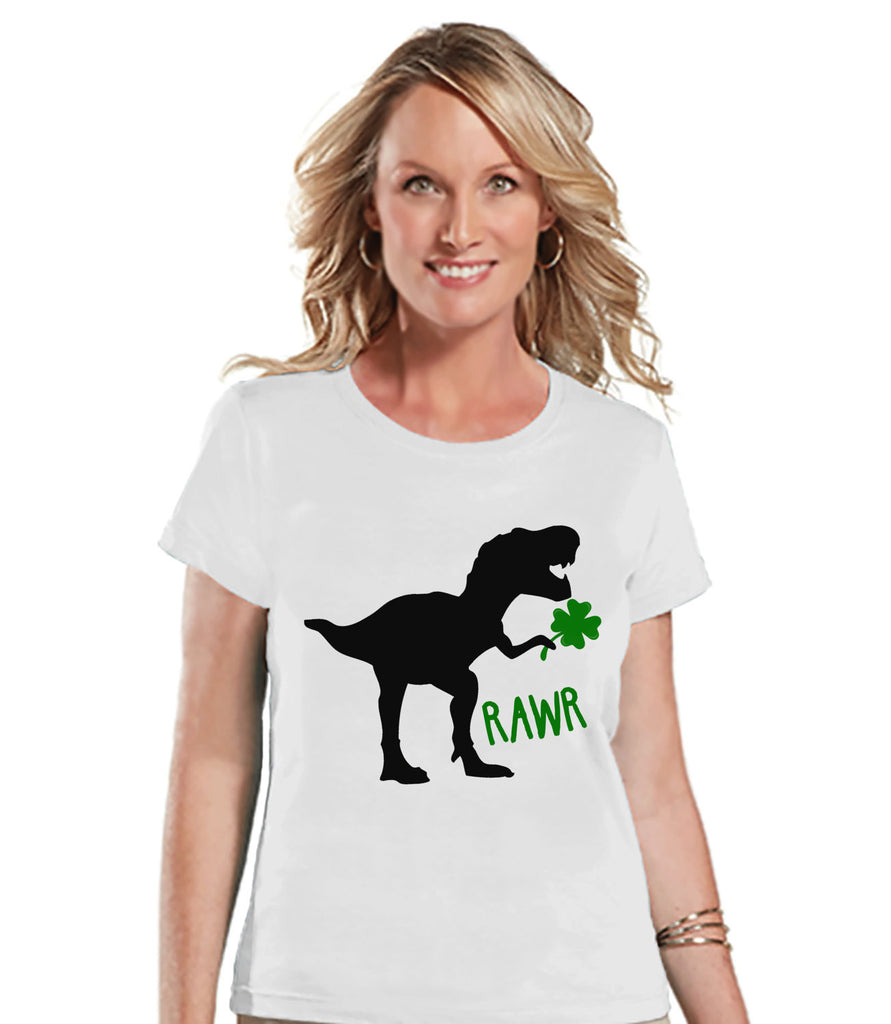 Womens St Patricks Day Shirt - Ladies Dinosaur St Paddy's Day Tee - Dino St Patricks Day Gift for Her - Funny Lucky Dinosaur - White T-shirt - 7 ate 9 Apparel