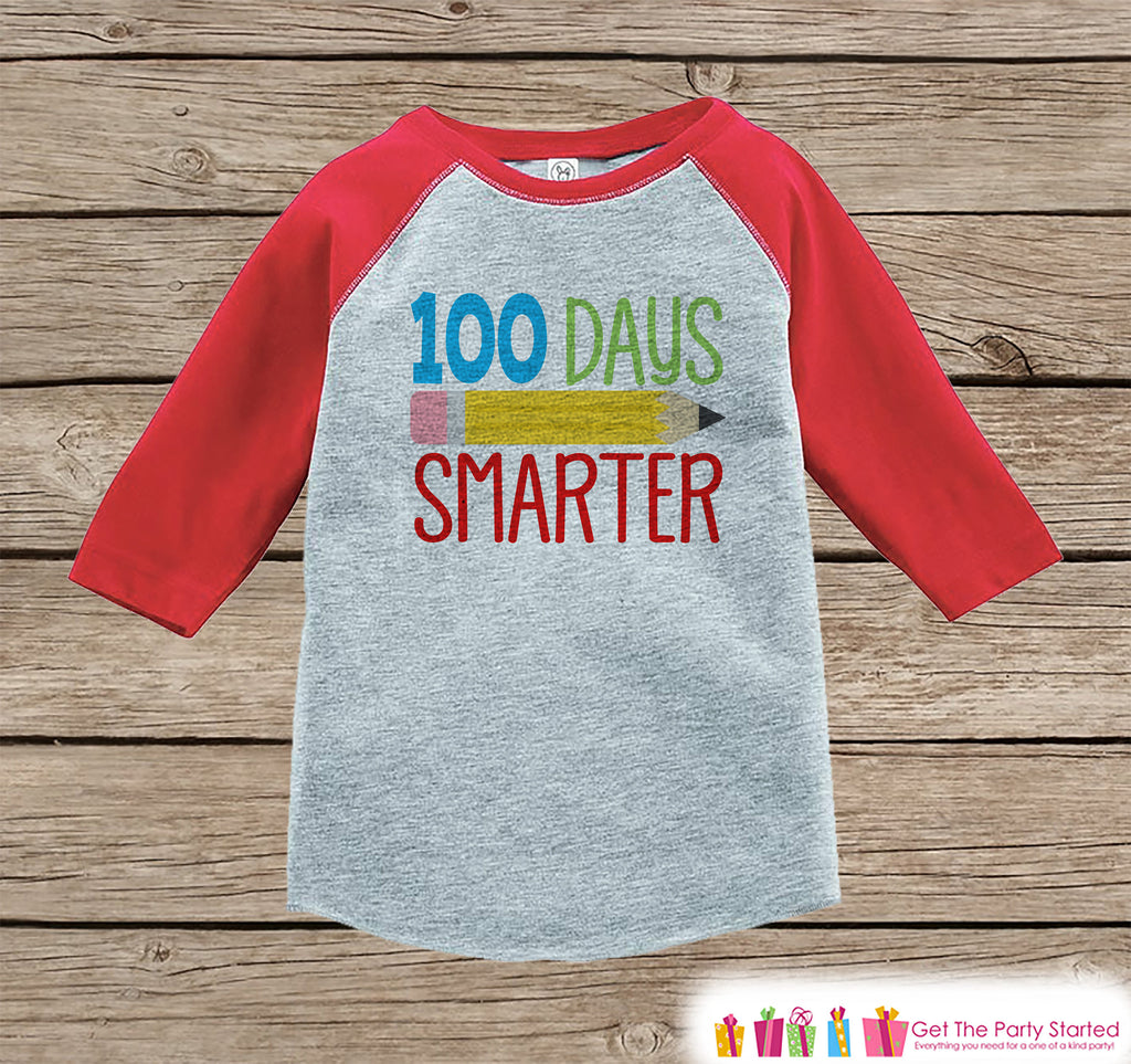 100 Days of School Shirt - Boys 100 Days Smarter Shirt - Kids School Outfit Red Raglan Tee - Boys 100th Day of School T-shirt