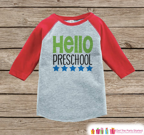 Back to School Shirt - Hello Preschool Shirt - Boys Back To School Outfit Red Raglan Tee - First Day of Preschool Tshirt - Back to School