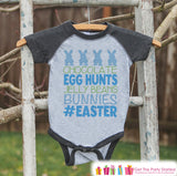 Boy's Easter Outfit - #Easter Grey Raglan Shirt or Onepiece - Easter Egg Hunt - Easter Bunny - Baby, Toddler, Kids, Youth Novelty Raglan Tee - 7 ate 9 Apparel