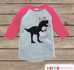 Girls Easter Outfit - Dinosaur Easter Shirt or Onepiece - Girls Easter Egg Hunt Shirt - Baby, Toddler, Youth - Pink Bunny Ears - Easter Egg - 7 ate 9 Apparel