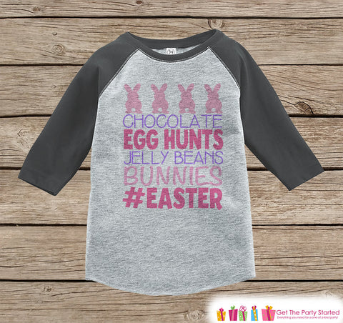 Girls Easter Outfit - #Easter Grey Raglan Shirt or Onepiece - Easter Egg Hunt - Easter Bunny - Baby, Toddler, Kids, Youth Novelty Raglan Tee - 7 ate 9 Apparel