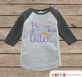 Back to School Shirt - Girls 1st Grade Got Cuter Outfit - Girl Grey Raglan Tee - Kindergarten Graduation Tshirt - First Grade Back to School