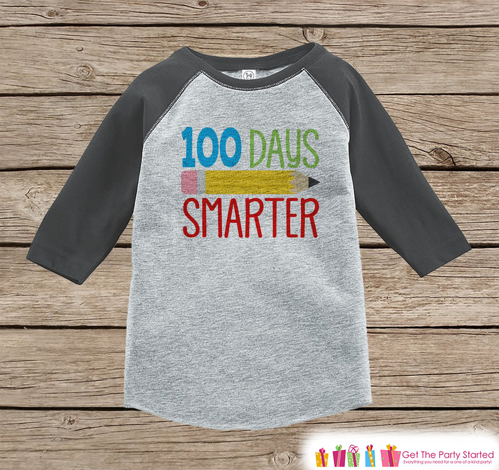 100 Days of School Shirt - Boys 100 Days Smarter Shirt - Kids School Outfit Grey Raglan Tee - Boys 100th Day of School T-shirt
