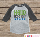 Back to School Shirt - Hello Second Grade Shirt - Boys Back To School Outfit Grey Raglan Tee - First Day of 2nd Grade Top - Back to School