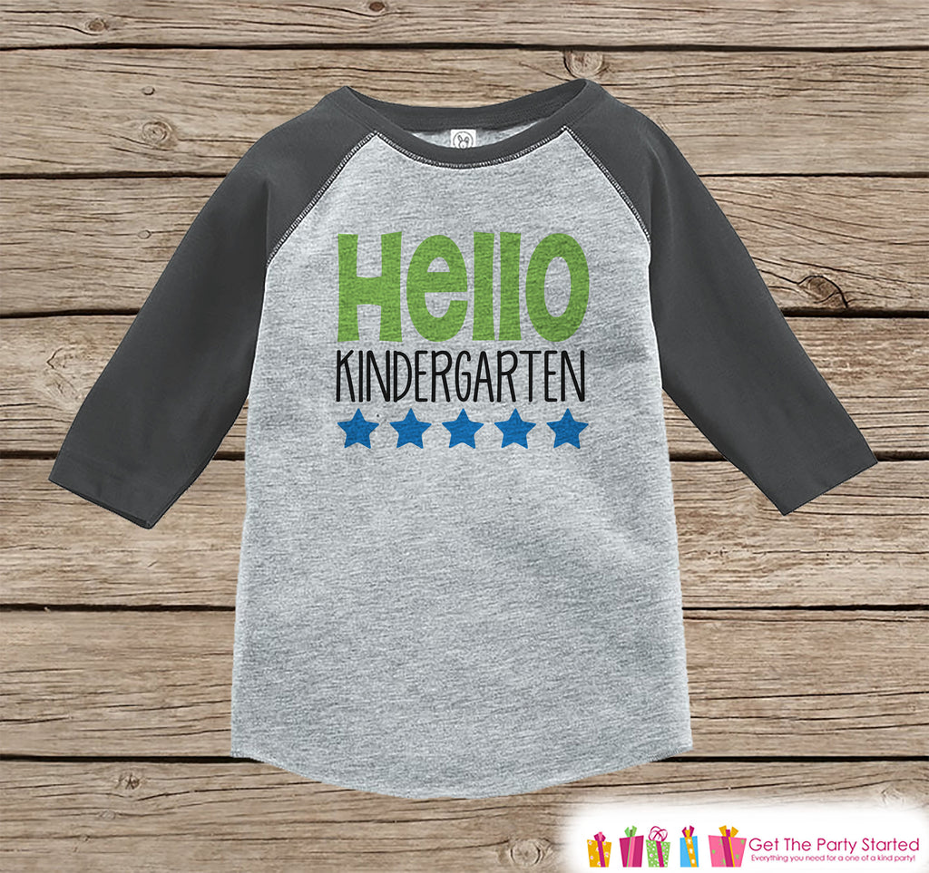 Back to School Shirt - Hello Kindergarten Shirt - Boys Back To School Outfit Grey Raglan - First Day of Kindergarten Tshirt - Back to School