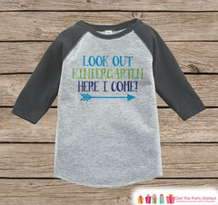 Back to School Shirt - Look Out Kindergarten Shirt - Boys Back To School Outfit Grey Raglan - Kindergarten Here I Come - Back to School