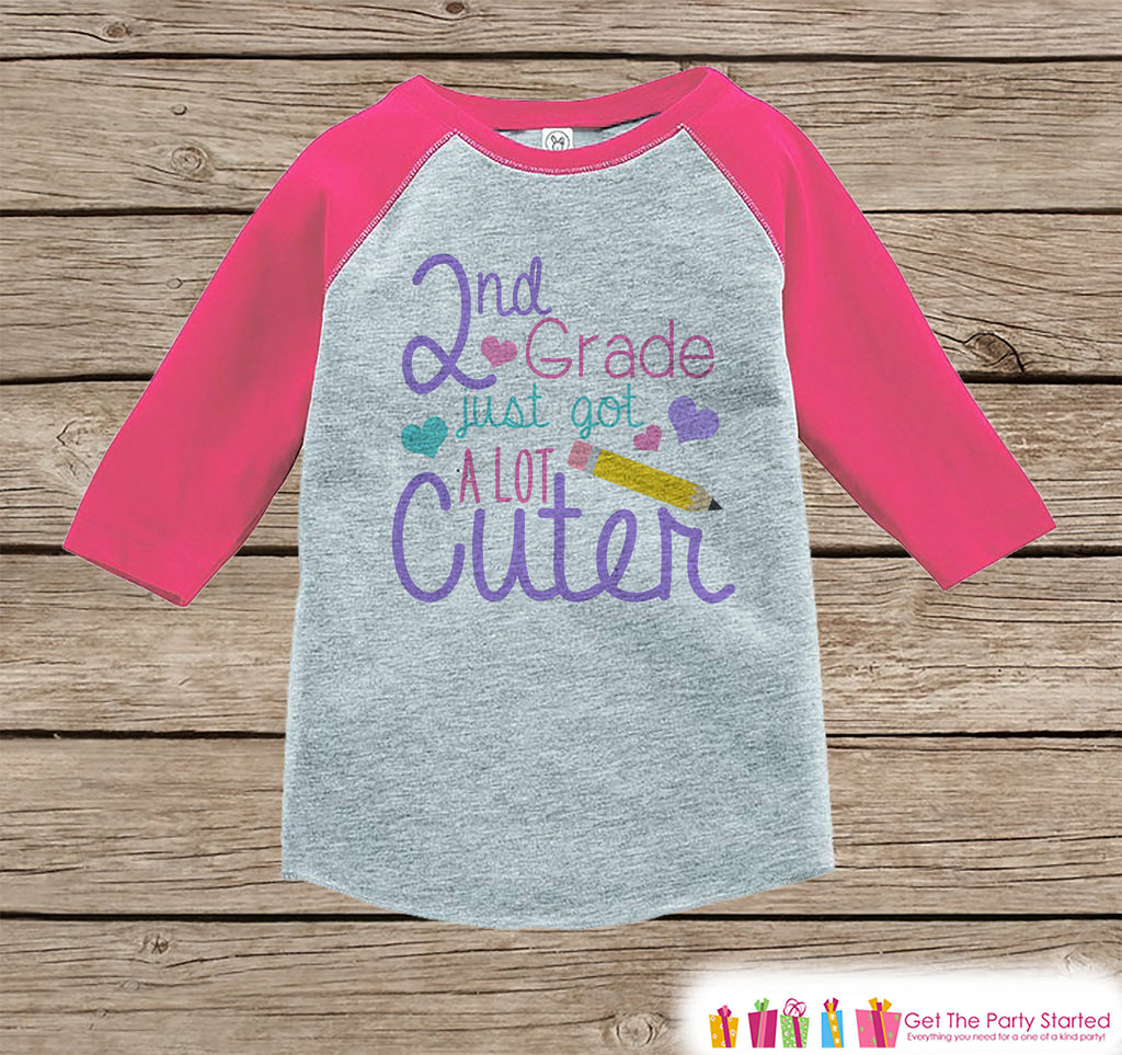 Back to School Shirt - Girls 2nd Grade Got Cuter Outfit - Girls Pink Raglan Tee - 1st Grade Graduation School Tshirt - Back to School Top