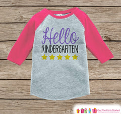 Back to School Shirt - Hello Kindergarten Shirt - Girl Back To School Outfit Pink Raglan - First Day of Kindergarten Tshirt - Back to School