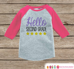Back to School Shirt - Hello Second Grade Shirt - Girls Back To School Outfit Pink Raglan Tee - First Day of 2nd Grade Top - Back to School
