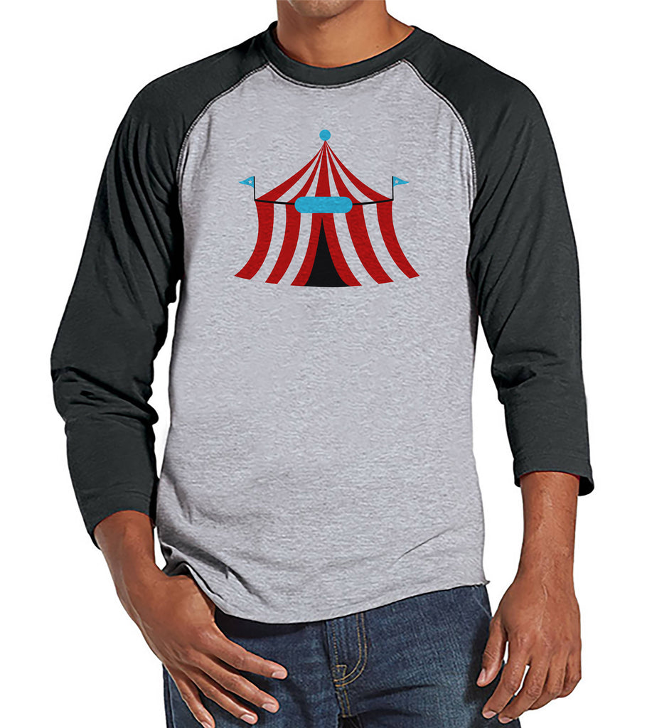 Circus Shirt - Mens Carnival Top - Circus Tent Shirt - Grey Raglan Shirt - Men's Shirt - Carnival Birthday Party Outfit - Carnival Party
