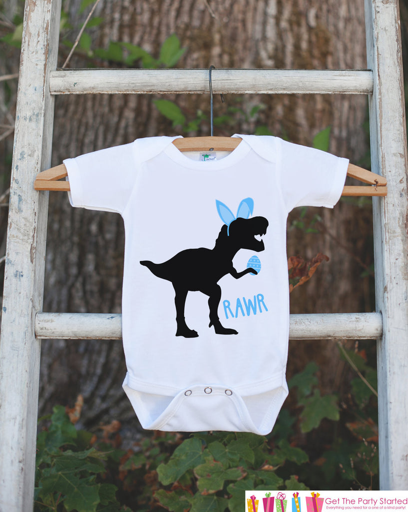 Kids Easter Outfit - Dinosaur Easter Bunny Onepiece or Tshirt - Boys Happy Easter Shirt - Baby Toddler Youth Blue Bunny Ears Dinosaur Shirt - 7 ate 9 Apparel