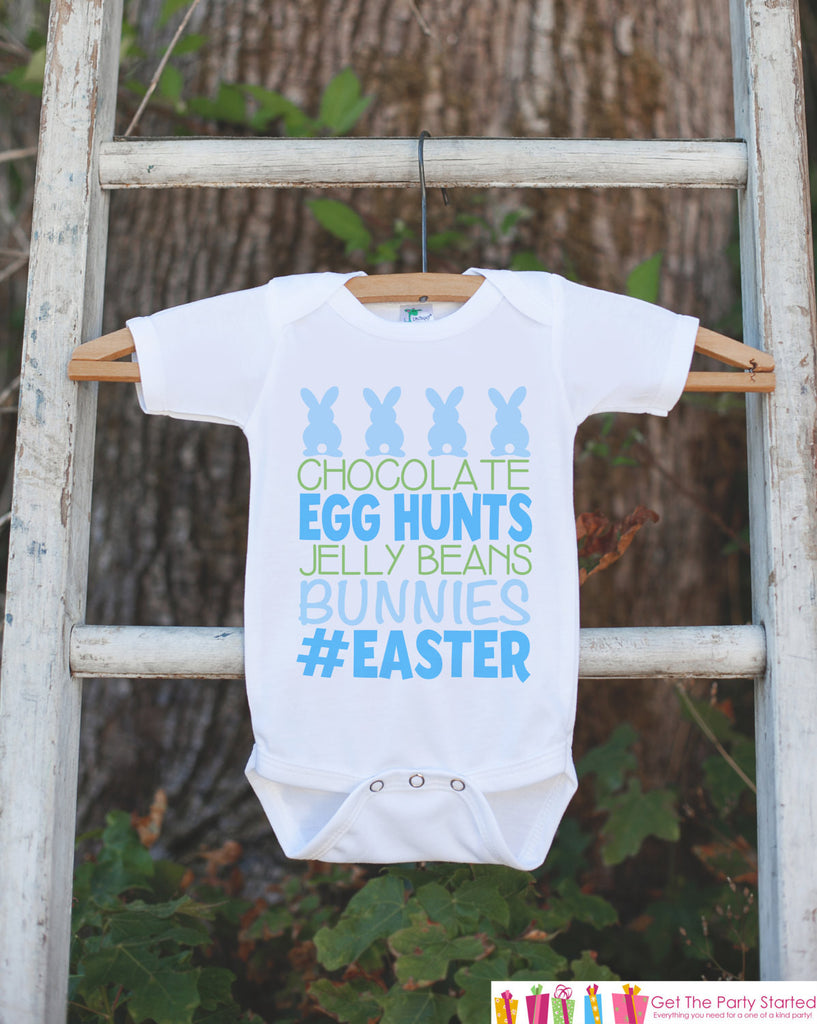 Kids Easter Outfit - Blue #Easter Onepiece or Tshirt - Boys Happy Easter Shirt - Baby Toddler Youth Easter Bunny Easter Egg Hunt Shirt - 7 ate 9 Apparel