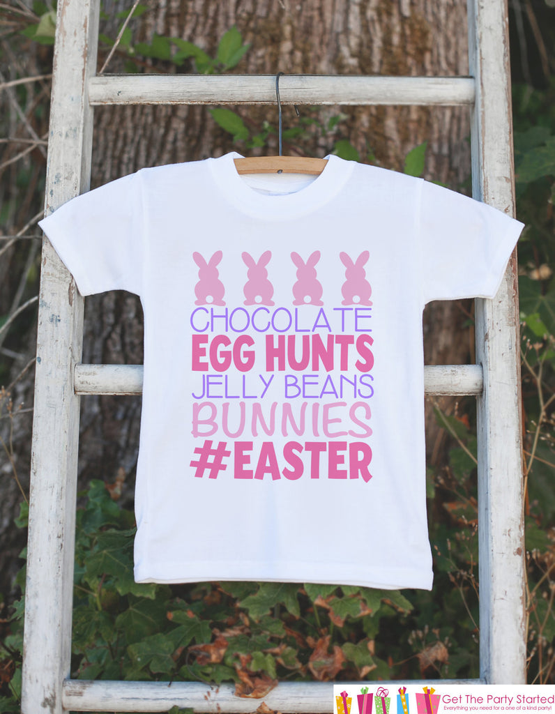 Kids Easter Outfit - Pink #Easter Onepiece or Tshirt - Girls Happy Easter Shirt - Baby Toddler Youth Easter Bunny Easter Egg Hunt Shirt - 7 ate 9 Apparel