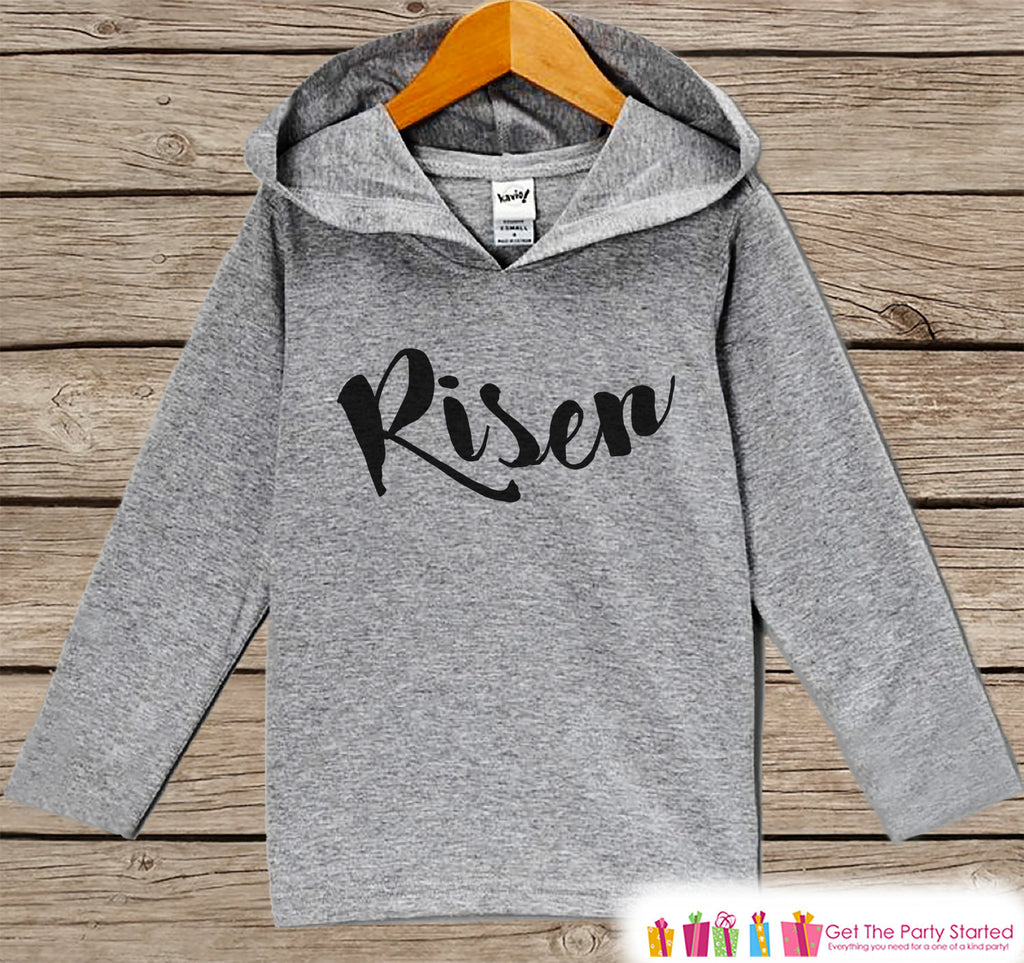 Kids Easter Outfit - Easter Risen Hoodie - Easter Spring Pullover - Baby Boy or Girl Easter Outfit - Kids Religious Christian Toddler Hoodie - 7 ate 9 Apparel