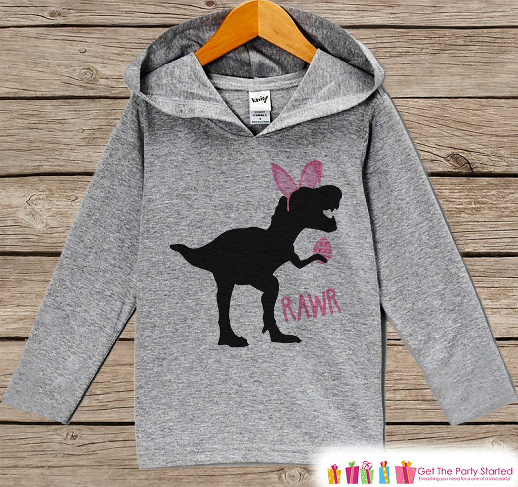 Girls Easter Outfit - Dinosaur Easter Bunny Hoodie - Easter Spring Pullover - Baby Toddler Girls Easter Outfit - Egg Hunt - Kids Grey Hoodie - 7 ate 9 Apparel