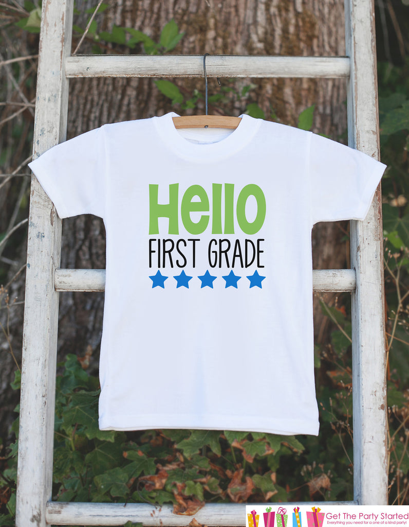 Back to School Shirt - Hello First Grade Shirt - Boys Back To School Outfit - First Day of 1st Grade Tshirt - Boy Back to School T-shirt