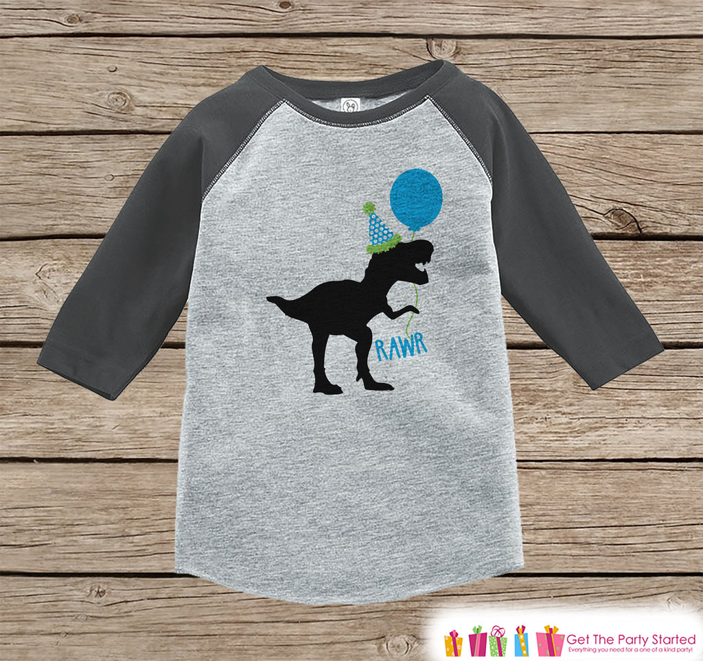 Boy's Dinosaur Birthday Shirt - Dino Birthday Shirt - Onepiece or Tshirt Birthday Outfit - Grey Raglan Birthday Shirt - Funny Trex Party Hat