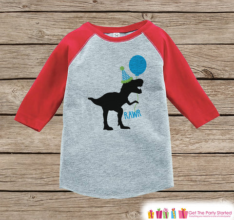 Boy's Dinosaur Birthday Shirt - Dino Birthday Shirt - Onepiece or Tshirt Birthday Outfit - Red Raglan Birthday Shirt - Funny Trex Party Hat
