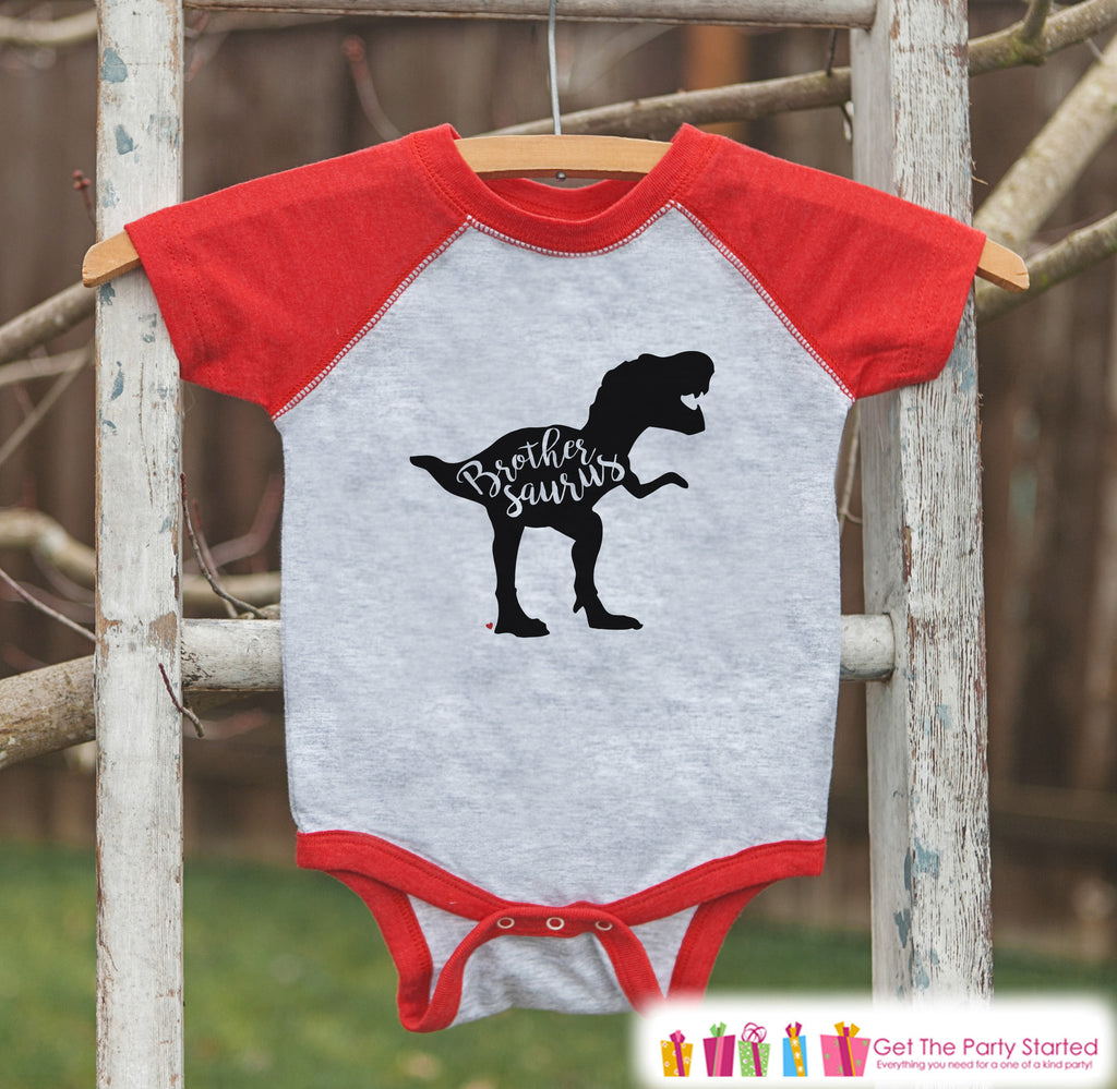 Toddler Dinosaur Shirt - Sibling Shirts, Brothersaurus - Kids Red Raglan Shirt - Kids Baseball Tee - Brother Dinosaur Shirt - Toddler, Youth