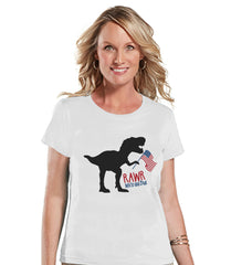 Women's 4th of July Shirt - Patriotic Dinosaur Shirt - Rawr White and Blue - Ladies White T-shirt - USA Patriotic Dino 4th of July Shirt