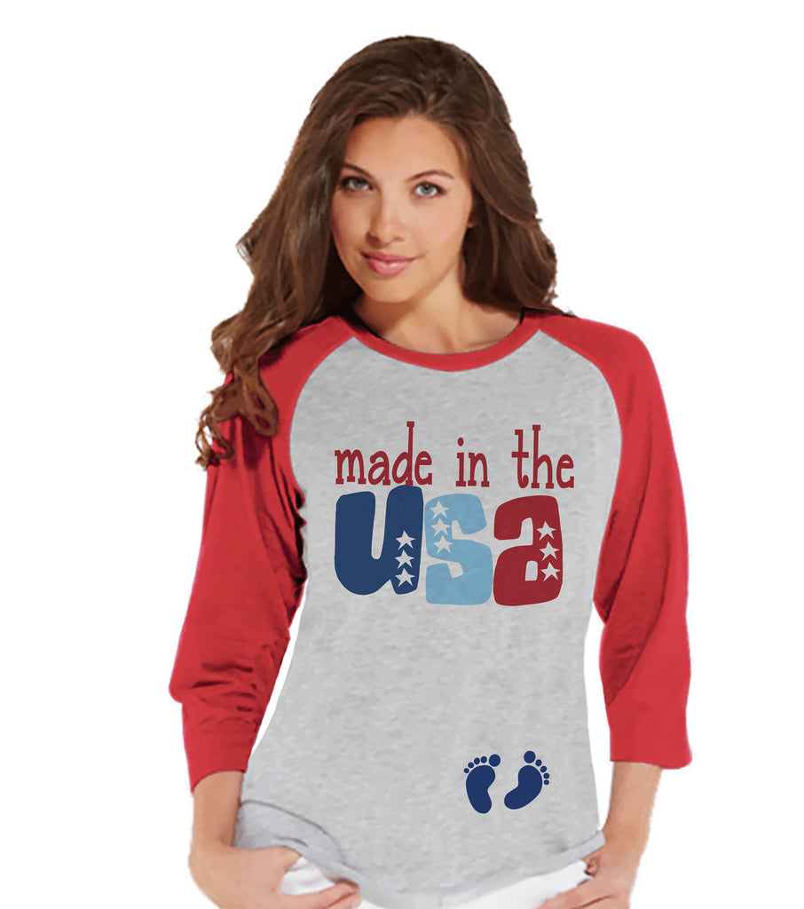 Women's 4th of July Shirt - Made in the USA Pregnancy Announcement - July Pregnancy Reveal - Red Baseball Tee - Patriotic Pregnancy Shirt