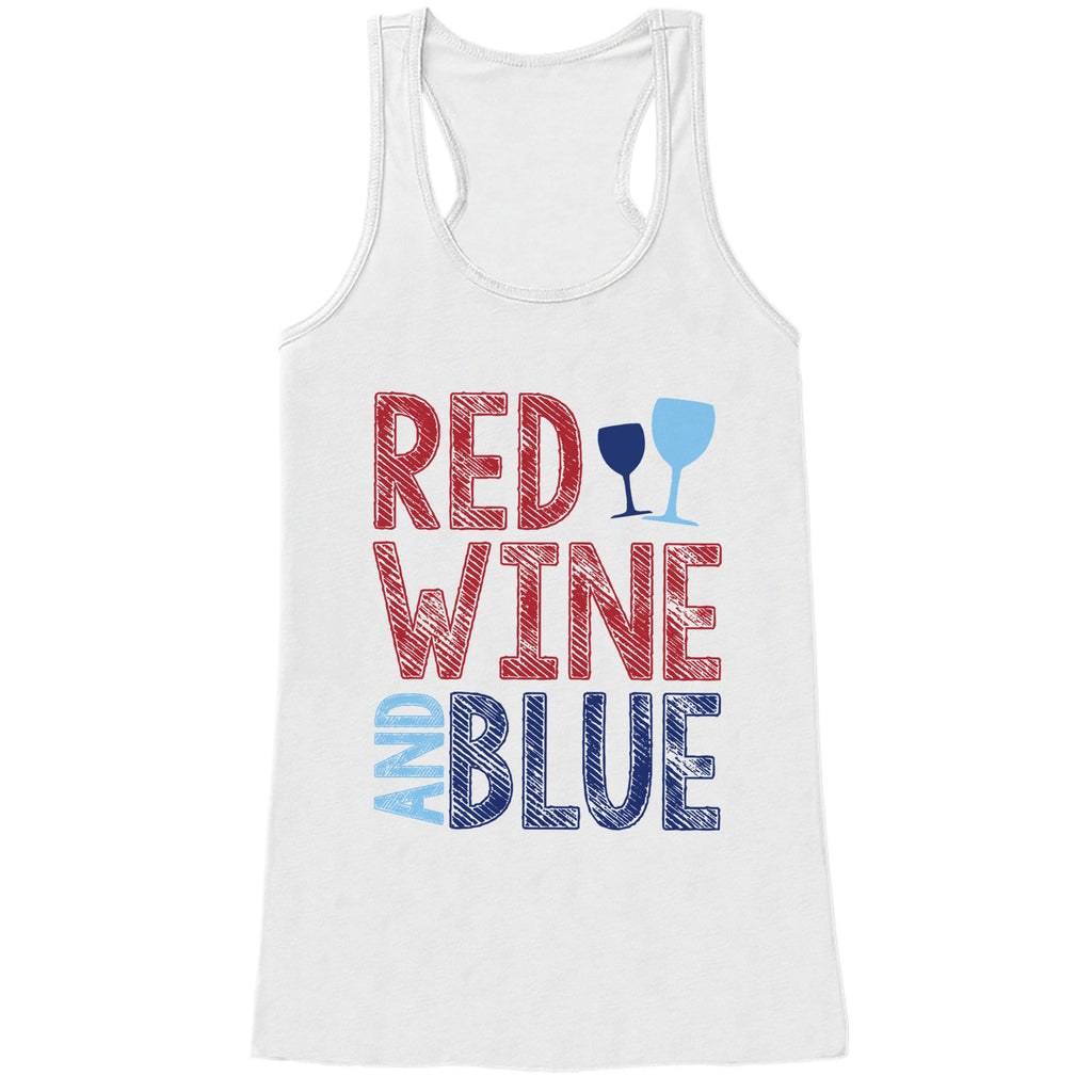Red Wine & Blue Tank Top - Women's 4th of July Tank - White Tank - Funny 4th of July Drinking Shirt - American Pride Top - 4th of July Tank