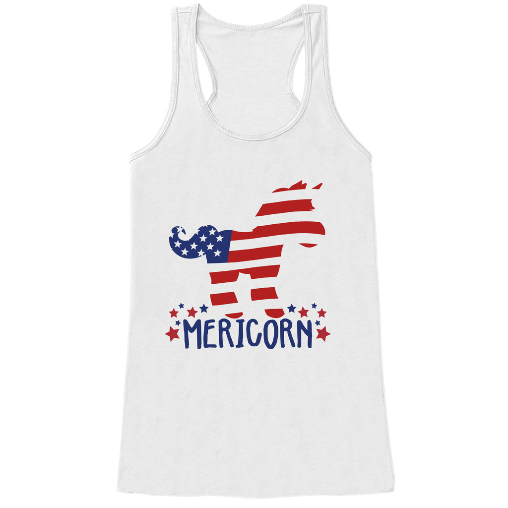 188066f2a036f Womens 4th of July Shirt - Mericorn - White Tank Top - Funny Unicorn Fourth  of