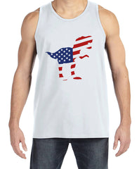 Men's 4th of July Tank Top - American Flag Dinosaur - White Tank - Patriotic Dino 4th of July Party Shirt - Men's Funny Patriotic Shirt