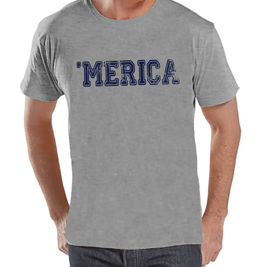 Men's 4th of July Shirt - Blue 'Merica - Grey T-shirt - Patriotic Merica 4th of July Party Shirt - Men's Independence Day Patriotic Shirt