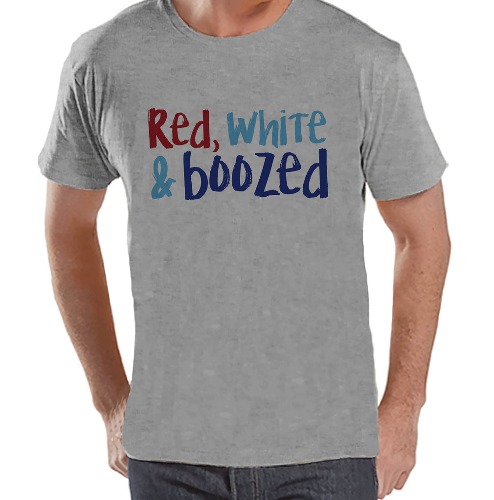 Men's 4th of July Shirt - Red White & Boozed - Grey T-shirt - Independence Day 4th of July Party Shirt - Funny Patriotic Drinking Shirt