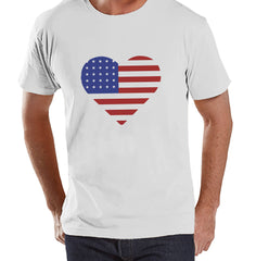 Men's 4th of July Shirt - Heart American Flag - White T-shirt - American Flag 4th of July Party Shirt - Patriotic USA Flag Tank Top