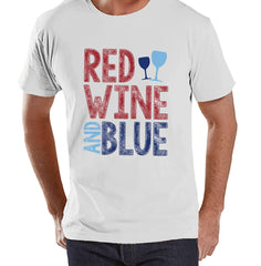 Men's 4th of July Shirt - Red Wine & Blue - White T-shirt - Independence Day 4th of July Wine Party Shirt - Funny Drinking Shirt - Wine