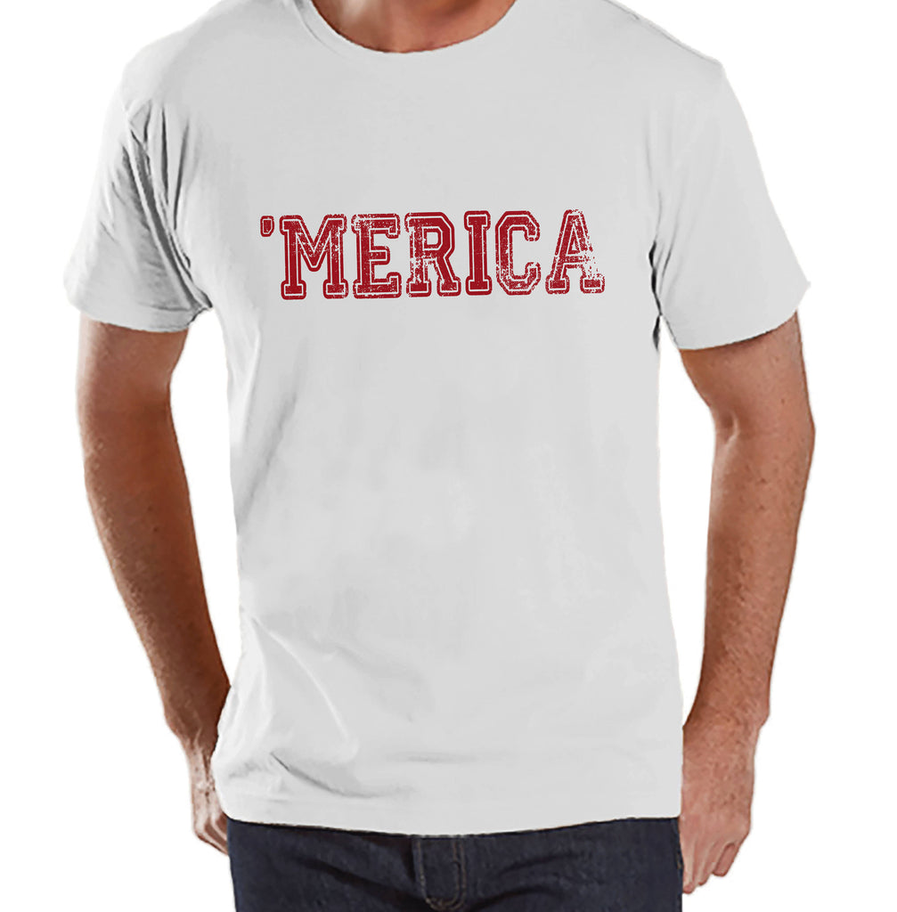 Men's 4th of July Shirt - Red 'Merica Shirt - Men's White T-Shirt - Men's Patriotic Shirt - Funny Fourth of July Shirt - American Pride