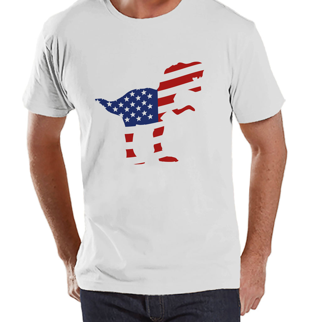 Men's 4th of July Shirt - American Flag Dinosaur - White T-shirt - Patriotic Dino 4th of July Party Shirt - Men's Funny Patriotic Shirt