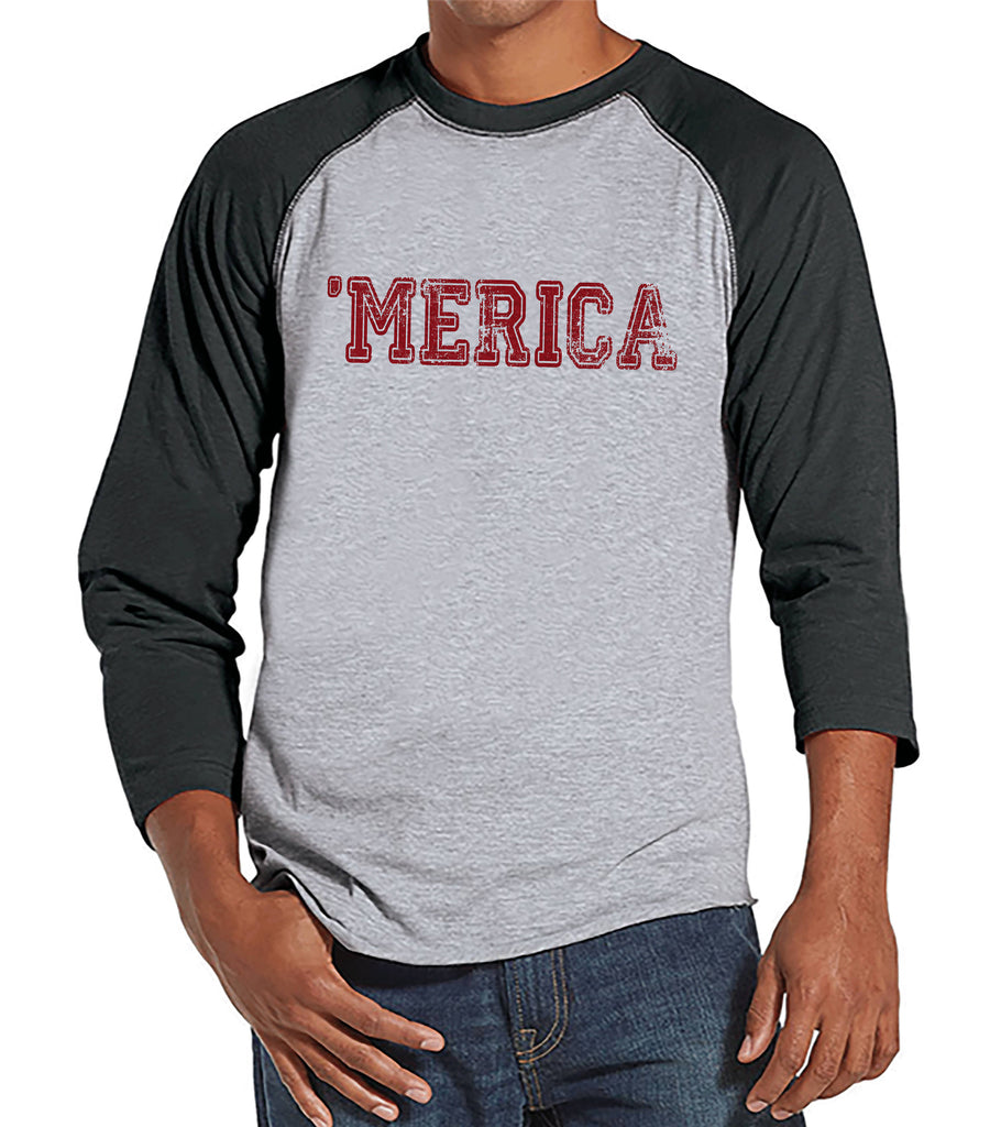 Men's 4th of July Shirt - Red 'Merica Shirt - Grey Raglan Shirt - Men's Patriotic Tee - Funny Fourth of July Shirt - Independence Day Shirt