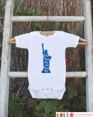 Kids 4th of July Shirt - Patriotic Statue of Liberty Onepiece or Tshirt - 4th of July Shirt Baby Girl or Boy, Youth, Toddler - Independence