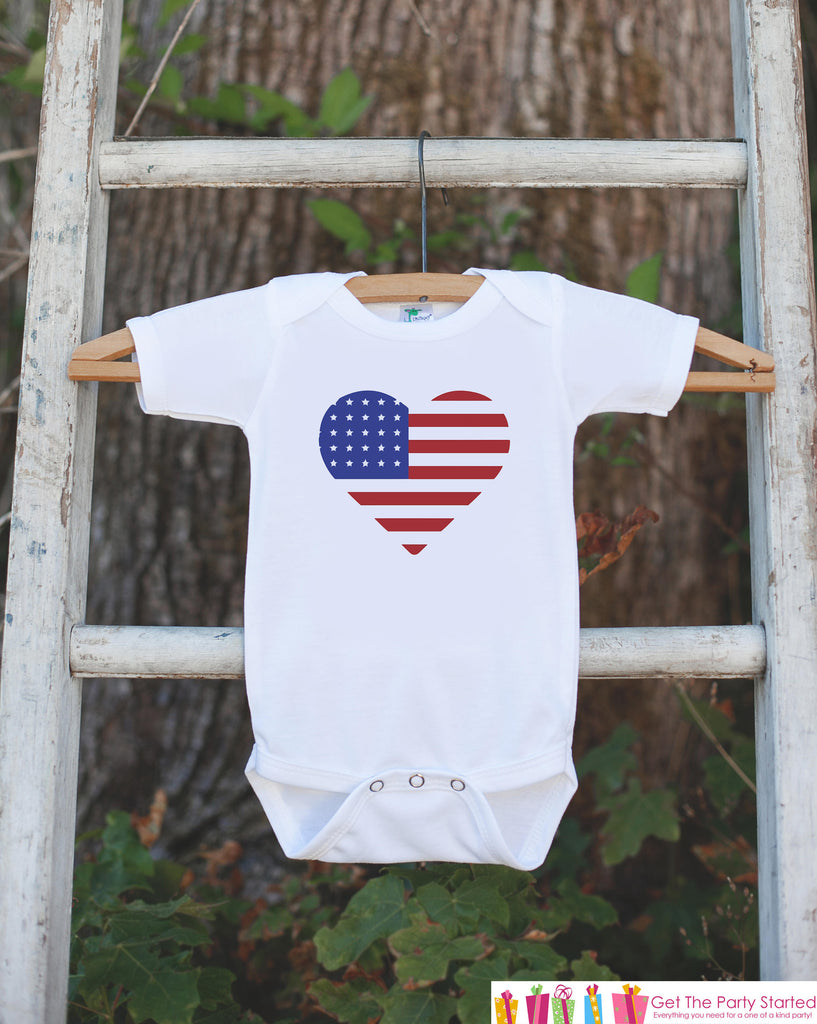 Kids 4th of July Shirt - Patriotic Heart Flag Onepiece or Tshirt - 4th of July Shirt Baby Girl or Boy, Youth, Toddler - Independence Day